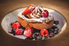 Close up of chocolate dessert at the restaurant Stock Photos