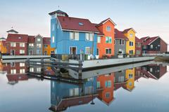 Stock Photo of colorful buildings on water