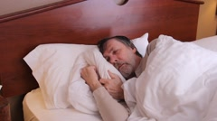 Man snoring while sound asleep Stock Footage