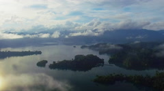Ban Wang Khon, Surat Thani, Through Clouds, Islands, Boat Dock Stock Footage