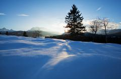 winter sunset in Alps - stock photo
