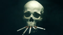 Smoking skull Stock Footage