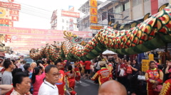 Chinese dragon parade during the celebration of the Chinese New Year in Bangkok Stock Footage