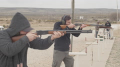 Men Shooting Rifles at the Gun Range Stock Footage