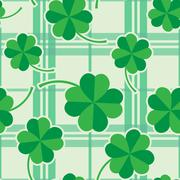 St Patric day pattern with green clover leafs - stock illustration