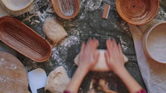 Time-lapse of  artisan baker preparing organic sourdough bread. Stock Footage