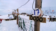 View to the Siberian husky dogs houses at the dog yard in Longyearbyen, Norway. Stock Footage