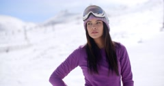 Sexy thoughtful young woman in a winter landscape Stock Footage