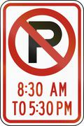 United States MUTCD regulatory road sign - No parking at specified times Stock Illustration