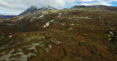 Flying toward the Tundra Ravines in Autumn 4K Stock Footage
