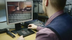 Man working with security surveillance  monitor Stock Footage