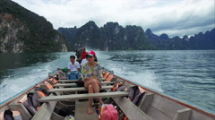 Khao Sok Boat Ride With Excited Woman With Islands In Background Stock Footage