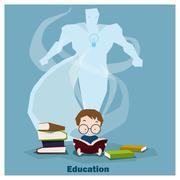 Education is superpower to success - stock illustration