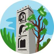 Stock Illustration of Medieval Bell Tower Circle Retro