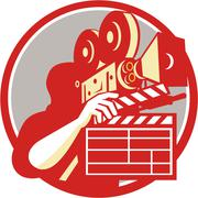 Cameraman Vintage Film Movie Camera Clapboard Retro - stock illustration