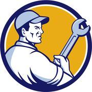 Mechanic Holding Monkey Wrench Circle Retro Stock Illustration