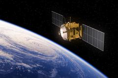 Satellite Orbiting Earth - stock illustration