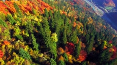 Aerial view of autumn Carpathians mountains - stock footage