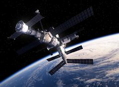 International Space Station Orbiting Earth - stock illustration