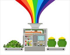 Production of gold leprechaun. Automatic line for fabulous industry. Producti - stock illustration