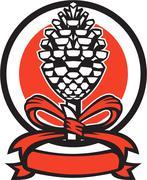 Stock Illustration of Thyrsus Pine Cone Staff Circle Retro