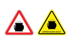 Warning sign attention leprechaun gold. Hazard yellow sign pot with gold coin Stock Illustration