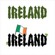 Ireland Celtic font. Flag of Ireland and clover, Shamrock. Ancient font Stock Illustration
