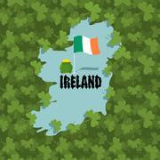 Map of Ireland and Shamrock. Many of clover in Ireland. Irish flag and gold   Stock Illustration