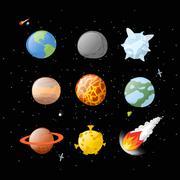 Planet set dark background. Dark space.  Planets of solar system by having  c - stock illustration