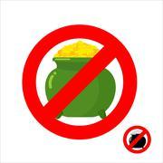 Stop leprechaun gold. Forbidden flower pot with gold coins. Frozen leprechaun Stock Illustration