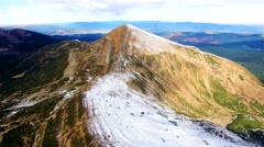 Aerial view of the highest ukrainian Carpathians peaks Stock Footage