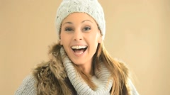 Closeup of woman wearing winter clothes, isolated Stock Footage