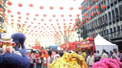 Chinese lions parade to celebrate the Chinese New Year festival in Bangkok Stock Footage