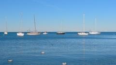 Yachts moored at sea. Adriatic sea Stock Footage