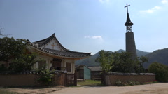 Local community church in a small village in South Korea Stock Footage