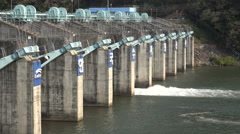 Small hydro power plant and dam in South Korea Stock Footage