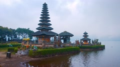 Morning Shot of Pura Ulun Danu Bratan Temple in Bali, Indonesia. UHD video Stock Footage