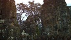 Courtyard with Ancient Stone Sculptures at Bayon Temple in Cambodia Stock Footage