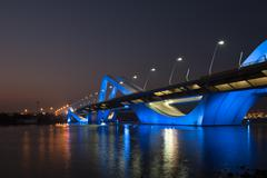 Sheikh Zayed Bridge at night, Abu Dhabi, UAE - stock photo