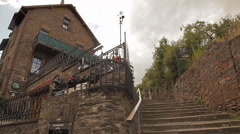 Panning shot of An old European tavern Stock Footage