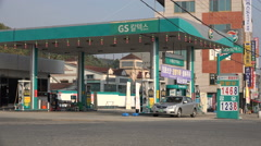 Petrol station in South Korea, a country heavily relying on energy imports - stock footage