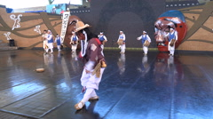 Traditional mask dance performance on stage in a theater in South Korea Stock Footage