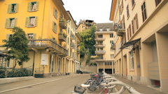 Beautiful quarter with lovely balconies in Europe Stock Footage