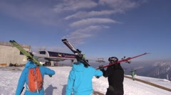 Ski resort Schwemmalm - Ultental - Val D'Ultimo - friends returning from skiing Stock Footage