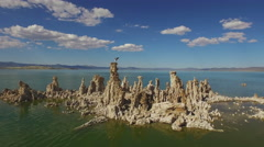 Mono Lake Tufa with Landing Osprey Aerial 4K - stock footage