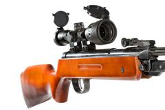 Stock Photo of air rifle with a telescopic sight and a wooden butt