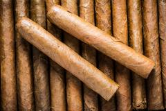 Close view on cuban hand rolled cigars Kuvituskuvat