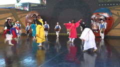 Colorful traditional show, classic entertainment at festival in South Korea Stock Footage