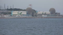 Nuclear power plant providing electricity. Located in Busan, South Korea. Stock Footage