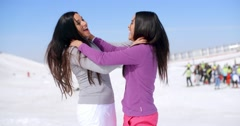 Joking women strangling each other - stock footage